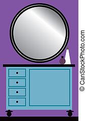 servicio, tabla, espejo