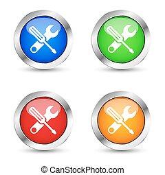 servicio, trabajo, herramientas, tela, botón, conjunto