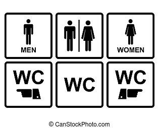 servicio, wc, silhouetted, icono, ambos, hombres, denoting,...