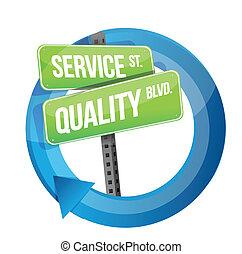 servicio, y, calidad, ilustración, diseño