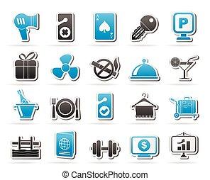 servicios, 2, motel, hotel, iconos