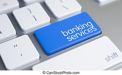 servicios bancarios, -, mensaje, en, azul, teclado, keypad., 3d.