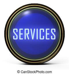 servicios, botón, negro, oro