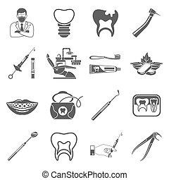 servicios, dental, conjunto, iconos