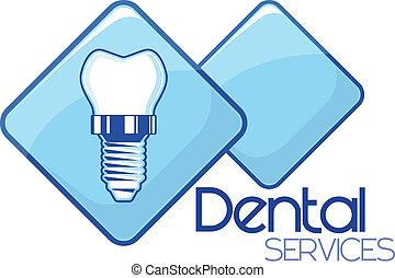 servicios, dental, diseño, implante