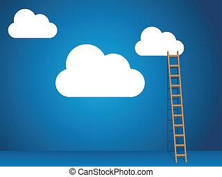 servicios, escalera, nube