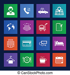 servicios, estilo, hotel, metro, iconos