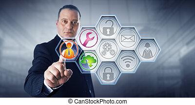 servicios, hombre de negocios, activante, gestionado, iconos