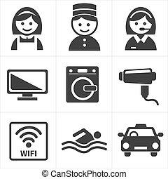 servicios, hotel, conjunto, icono