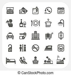 servicios, hotel, conjunto, iconos
