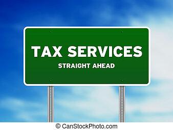servicios, impuesto, señal de autopista