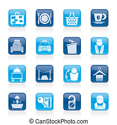 servicios, motel, hotel, iconos