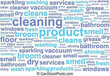 servicios, palabra, limpieza, nube