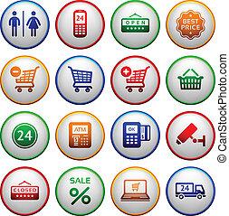 servicios, pictograms, conjunto, supermercado