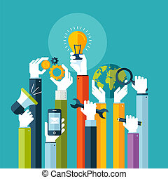 servicios, plano, concepto, en línea