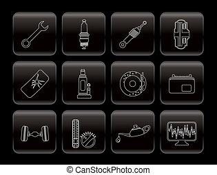 servicios, repuestos de automóviles, iconos