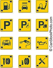 servicios, vector, zona lateral de camino, señales, ic.1