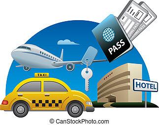 servicios, viaje, concepto