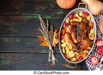 servido, assado, turquia ação graças, com, legumes, ligado, madeira, fundo