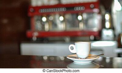servido, barra de café, counter., taza