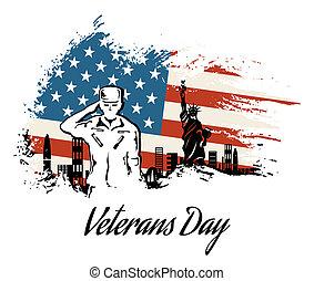 servido, honrar, todos, veteranos día