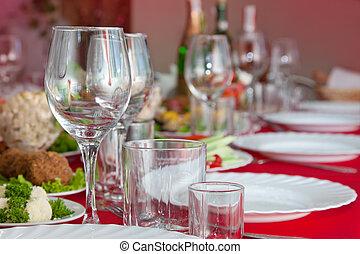 servido, um, tabela banquete