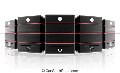 servidor, con, rojo, líneas, blanco, plano de fondo