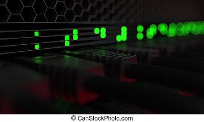 servidor, conectores, y, destellar, verde, fue adelante, lamps., ordenador equipo, red, o, moderno, centro de datos, concepts., 3d, interpretación