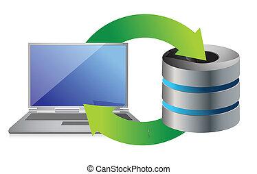 servidor, e, laptop, base dados, apoio