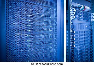 servidor, estante, grupo, en, un, centro de datos