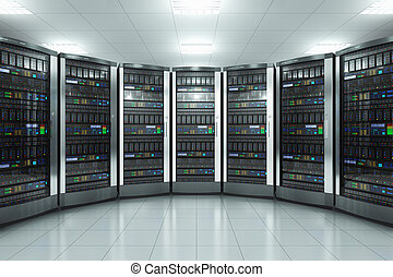 servidor habitación, en, datacenter