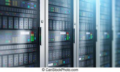 servidor habitación, interior, en, datacenter