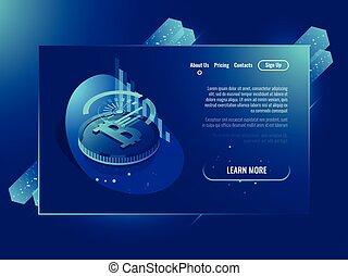 servidor habitación, nube, almacenamiento, archivos, futurista, centro de datos, y, red, web ofrecer, y, virtual, servidor, isométrico, neón, ultravioleta, vector