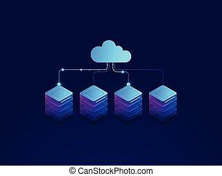 servidor habitación, nube, almacenamiento, icono, datacenter, y, base de datos, concepto, datos, intercambio, proceso, isométrico