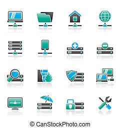 servidor, hosting, y, iconos del internet