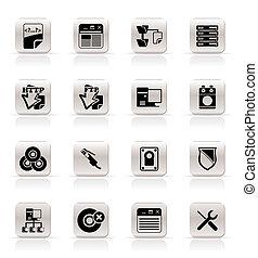 servidor, lado, iconos de computadora