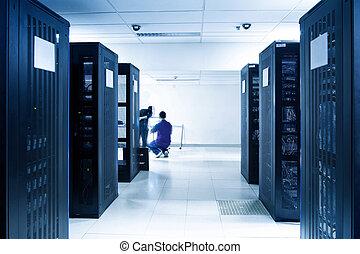 servidor, negro, habitación, servidores