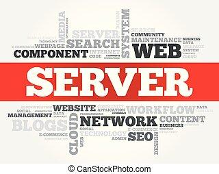servidor, palabra, nube, collage