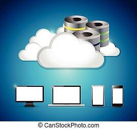 servidor, y, nubes, encima, un, conjunto, ir, electrónica