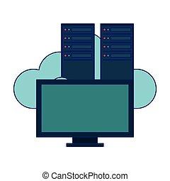servidores, computador, nuvem, computando