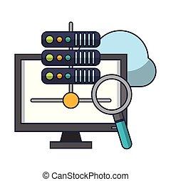 servidores, computando, computador, nuvem, base dados