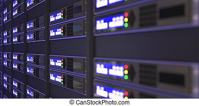servidores, fazendo, computador, 3d