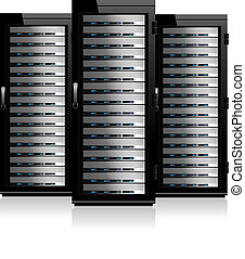servidores, gabinetes, -, três, servidor