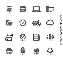 servidores, red, iconos