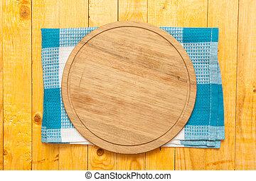 serviette, bois, planche découper, table, rond