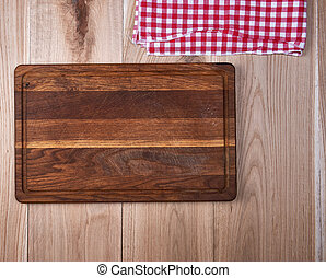 serviette, bois, vide, planche découper, vieux, rouges, cuisine