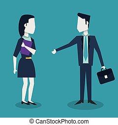 serviette, coloré, femme affaires, cadre, fond, homme affaires, réunion