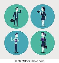 serviette, coloré, monocular, femme affaires, cadre, cercle, fond, cadres, homme affaires, dossier, porte voix, blanc