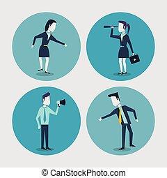 serviette, coloré, monocular, femme affaires, fond, cadres, homme affaires, blanc, porte voix, cercle