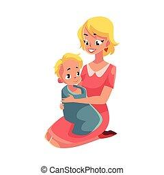 serviette, elle, après, jeune, bain, bébé, tenue, mère, emballé